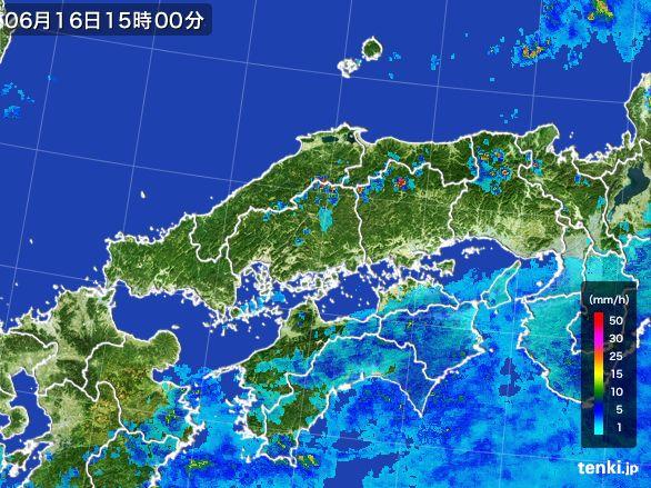 中国地方の雨雲レーダー(2015年06月16日)