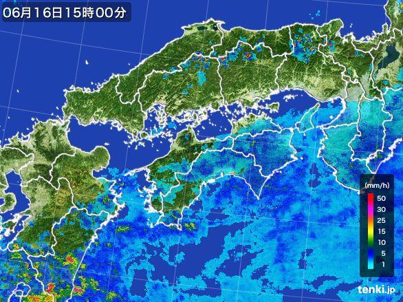 四国地方の雨雲レーダー(2015年06月16日)