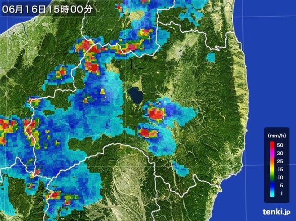 福島県の雨雲レーダー(2015年06月16日)