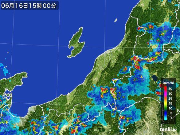 新潟県の雨雲レーダー(2015年06月16日)