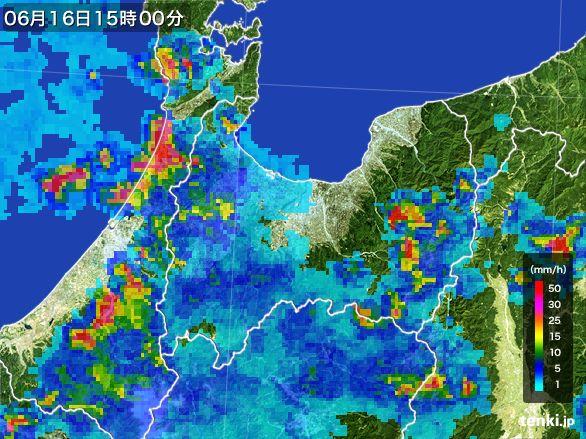 富山県の雨雲レーダー(2015年06月16日)