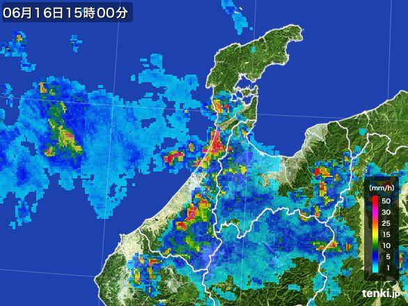 石川県の雨雲レーダー(2015年06月16日)