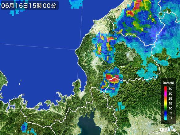 福井県の雨雲レーダー(2015年06月16日)