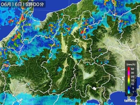 長野県の雨雲レーダー(2015年06月16日)