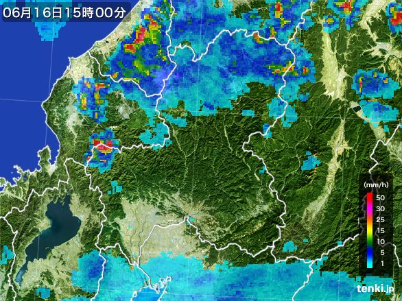 岐阜県の雨雲レーダー(2015年06月16日)
