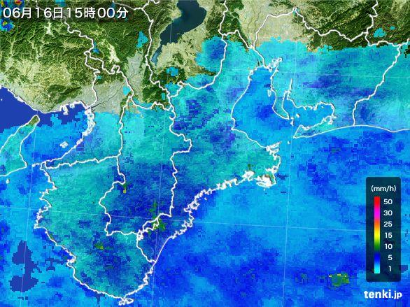 三重県の雨雲レーダー(2015年06月16日)