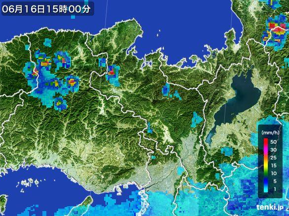 京都府の雨雲レーダー(2015年06月16日)
