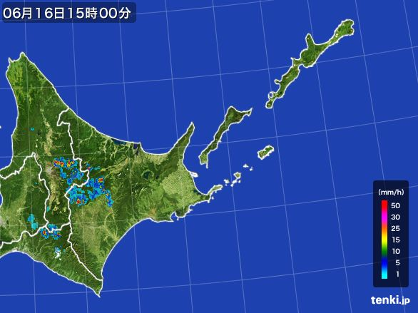 道東の雨雲レーダー(2015年06月16日)