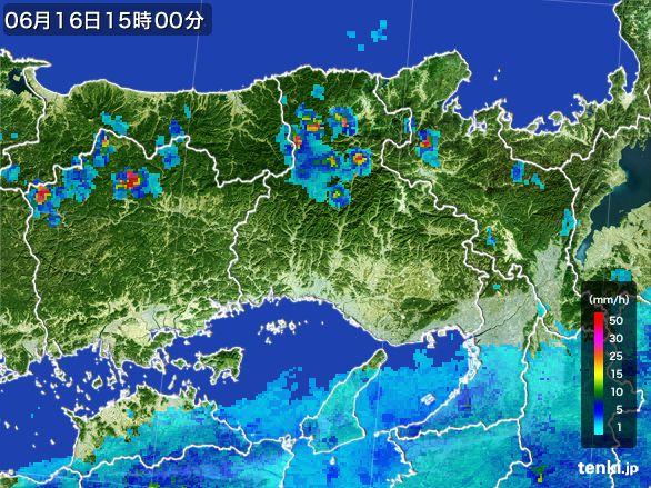 兵庫県の雨雲レーダー(2015年06月16日)