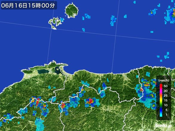 鳥取県の雨雲レーダー(2015年06月16日)
