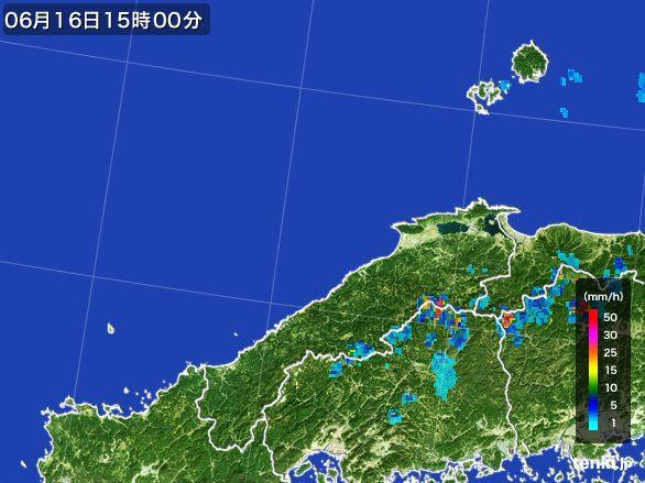 島根県の雨雲レーダー(2015年06月16日)