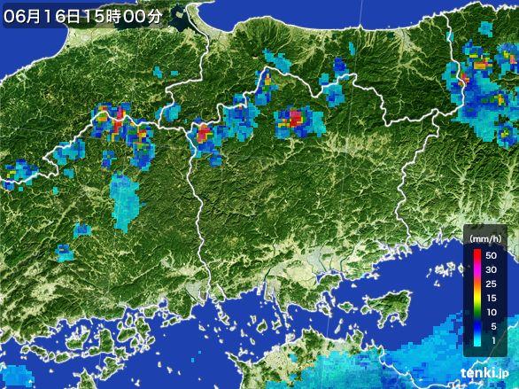 岡山県の雨雲レーダー(2015年06月16日)