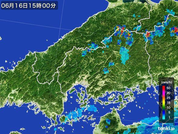 広島県の雨雲レーダー(2015年06月16日)