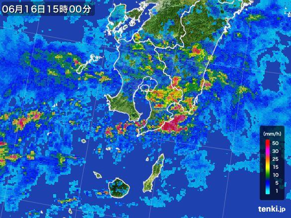 鹿児島県の雨雲レーダー(2015年06月16日)