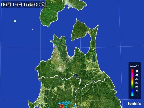 青森県の雨雲レーダー(2015年06月16日)