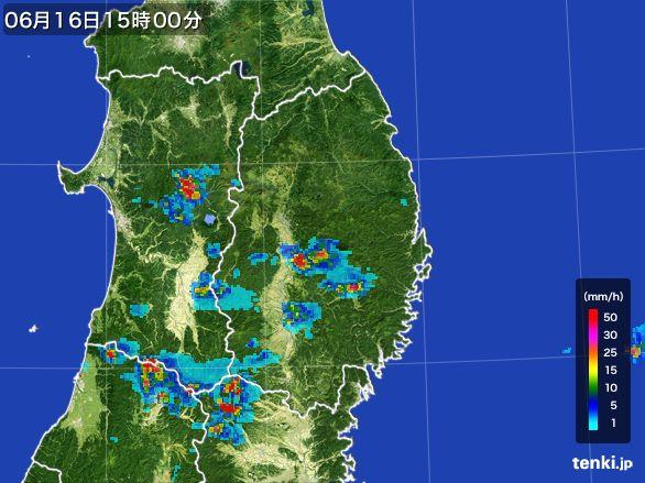 岩手県の雨雲レーダー(2015年06月16日)