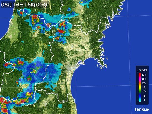 宮城県の雨雲レーダー(2015年06月16日)