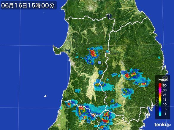 秋田県の雨雲レーダー(2015年06月16日)