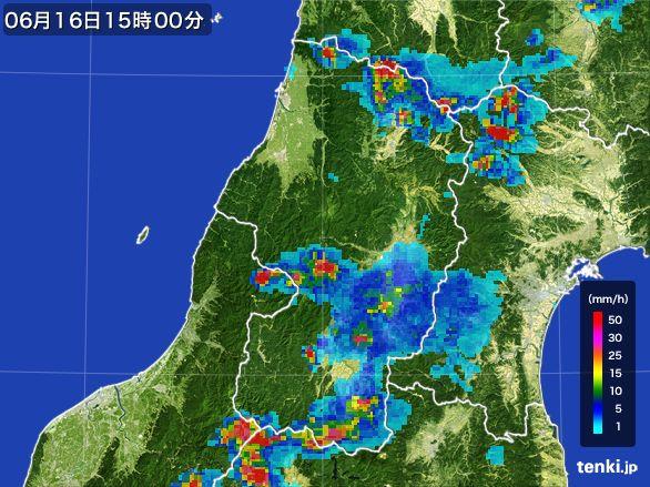 山形県の雨雲レーダー(2015年06月16日)