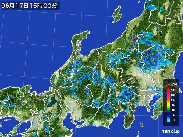 北陸地方の雨雲レーダー(2015年06月17日)