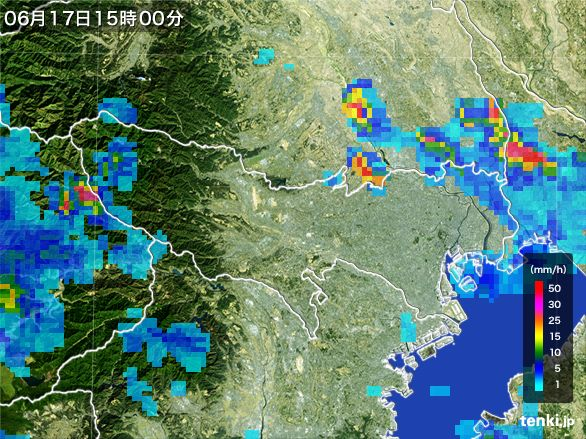 東京都の雨雲レーダー(2015年06月17日)