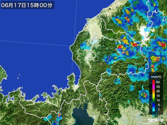 福井県の雨雲レーダー(2015年06月17日)