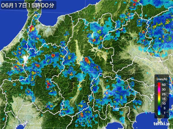 長野県の雨雲レーダー(2015年06月17日)