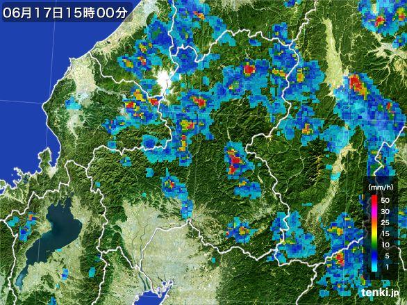 岐阜県の雨雲レーダー(2015年06月17日)