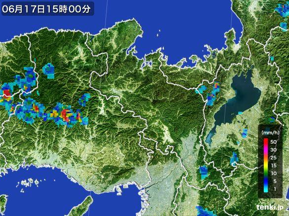 京都府の雨雲レーダー(2015年06月17日)