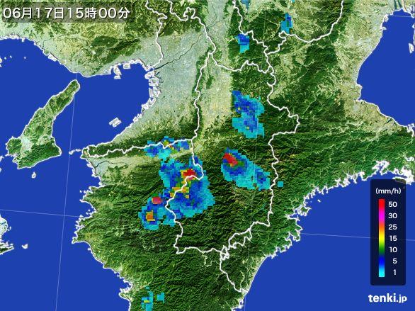 奈良県の雨雲レーダー(2015年06月17日)