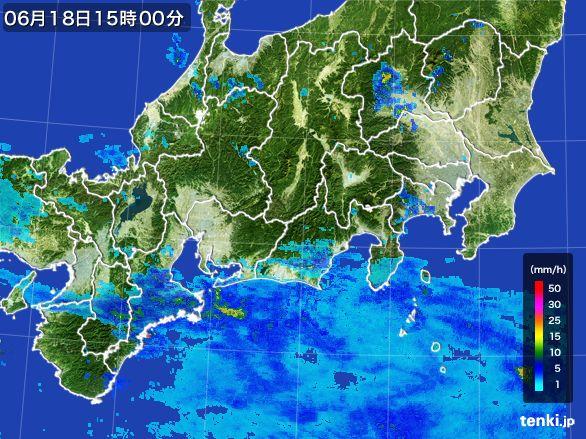 東海地方の雨雲レーダー(2015年06月18日)