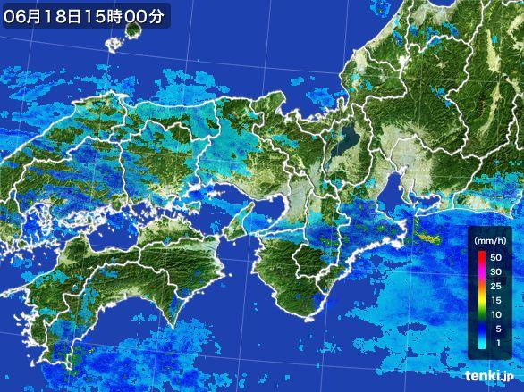 近畿地方の雨雲レーダー(2015年06月18日)