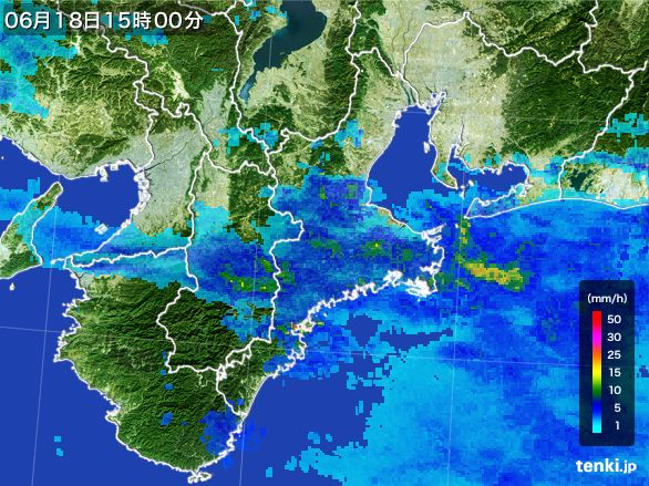 三重県の雨雲レーダー(2015年06月18日)