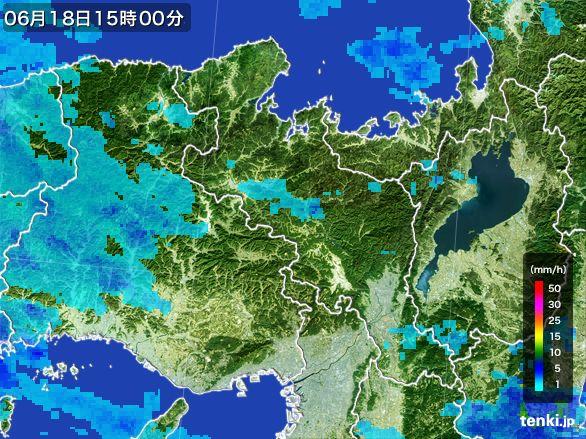 京都府の雨雲レーダー(2015年06月18日)