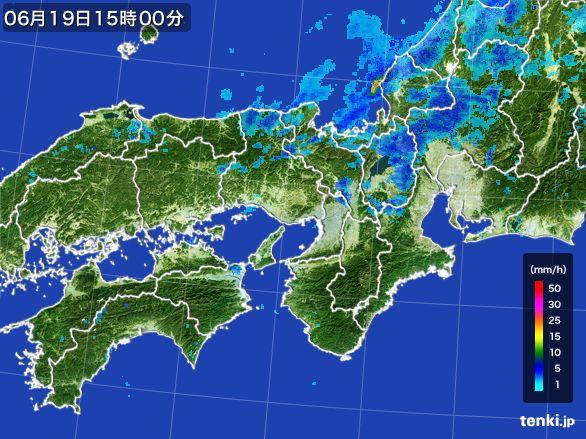 近畿地方の雨雲レーダー(2015年06月19日)