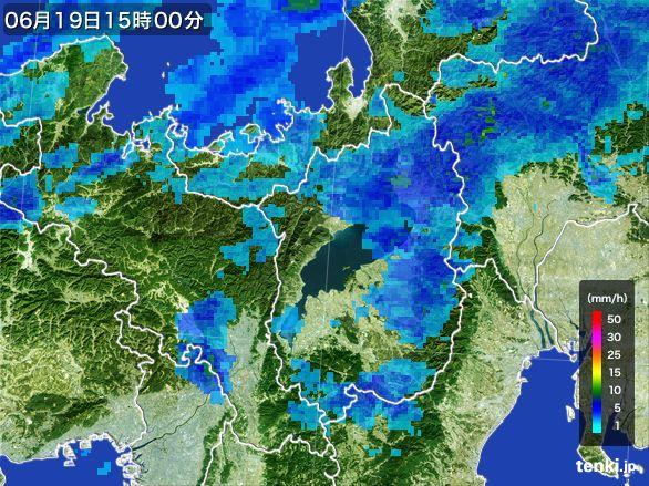 滋賀県の雨雲レーダー(2015年06月19日)