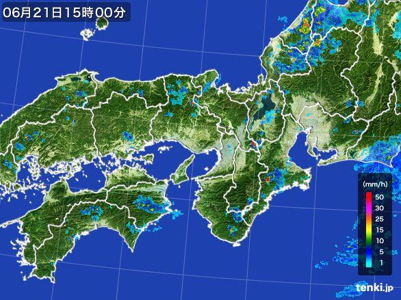 近畿地方の雨雲レーダー(2015年06月21日)