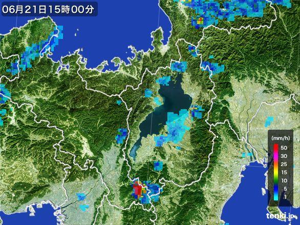 滋賀県の雨雲レーダー(2015年06月21日)