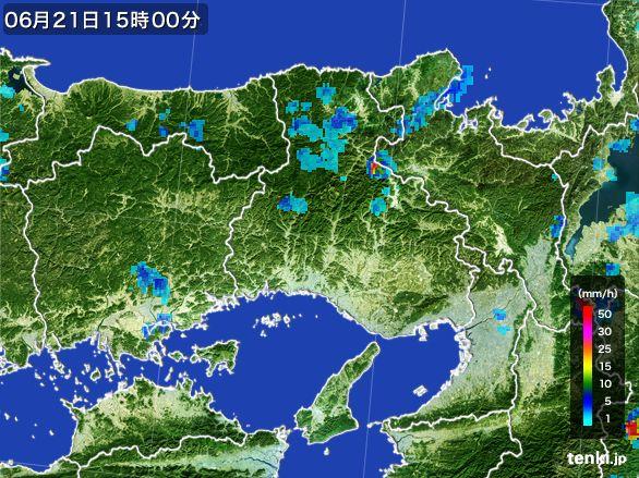 兵庫県の雨雲レーダー(2015年06月21日)