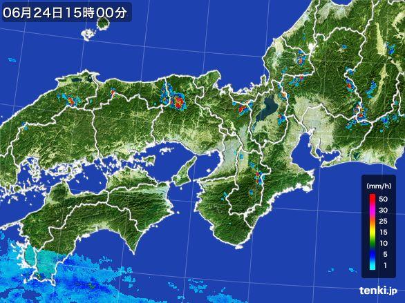 近畿地方の雨雲レーダー(2015年06月24日)