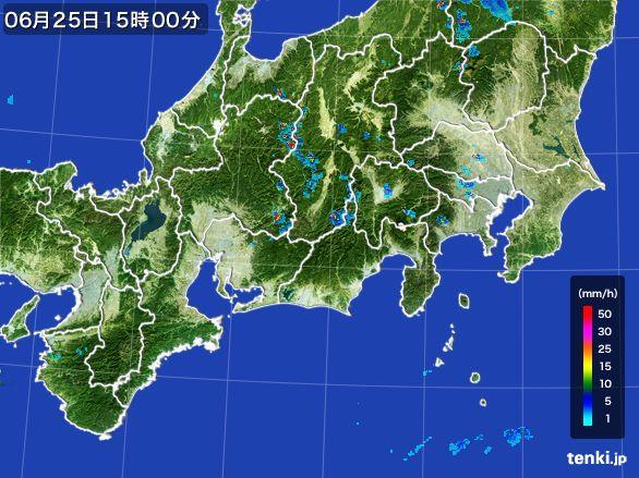 東海地方の雨雲レーダー(2015年06月25日)