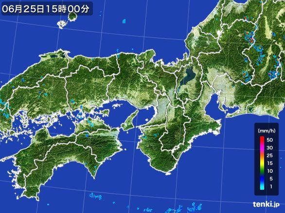 近畿地方の雨雲レーダー(2015年06月25日)