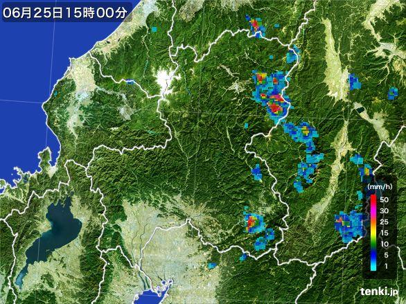 岐阜県の雨雲レーダー(2015年06月25日)