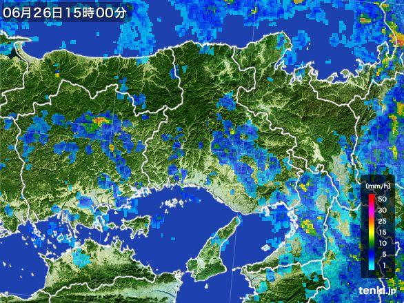 兵庫県の雨雲レーダー(2015年06月26日)