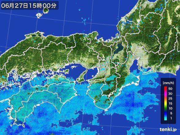 近畿地方の雨雲レーダー(2015年06月27日)
