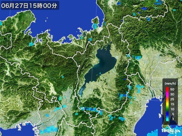 滋賀県の雨雲レーダー(2015年06月27日)