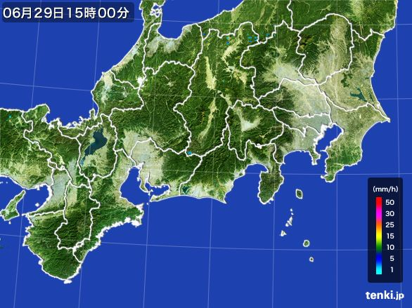 東海地方の雨雲レーダー(2015年06月29日)