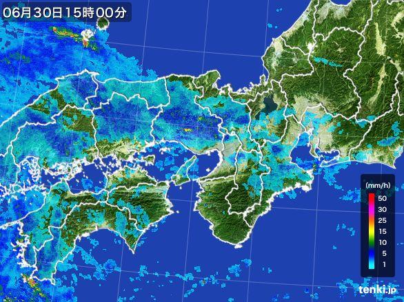 近畿地方の雨雲レーダー(2015年06月30日)