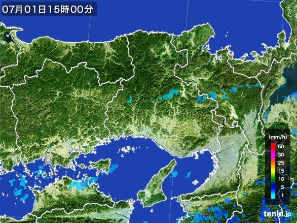 兵庫県の雨雲レーダー(2015年07月01日)
