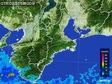 2015年07月02日の三重県の雨雲レーダー